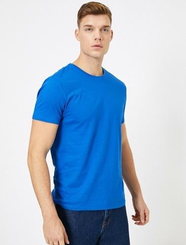 Koton Kisa Kollu Yuvarlak Yaka %100 Pamuk T-Shirt Mavi